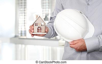 conceito, casa, trabalho, construção, segurança, mãos, capacete