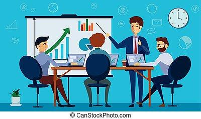 conceito, center., trabalhando, meeting., environment., negócio, compartilhado, coworking