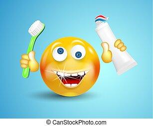 conceito, character., luminoso, sorrindo, seu, brilhar, azul, ou, toothpaste, experiência., segurando, branca, feliz, emoticon, cleanliness., escova de dentes, mãos, caricatura, estilo vida, saudável, rosto, dentes, redondo