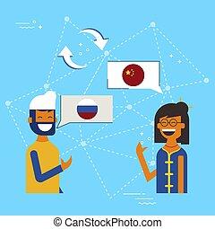 conceito, chinês, conversa, online, russo, tradução