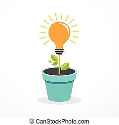 conceito, ciência, -, idéia, educação, luz, crescendo, bulbo, ícone