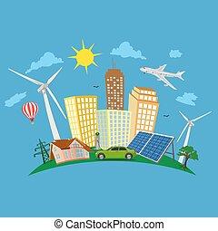 conceito, cidade, verde, renovável