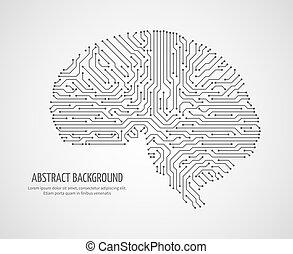 conceito, circuito computador, tecnologia, board., cérebro, vetorial, human, digital, medicina, eletrônico