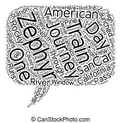conceito, clássicas, texto, viagens, zephyr, americano, wordcloud, trem, califórnia, fundo