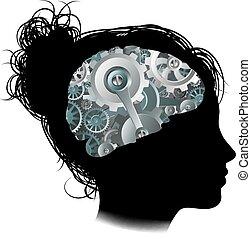 conceito, cogs, máquina, cérebro, mulher, engrenagens, funcionamentos