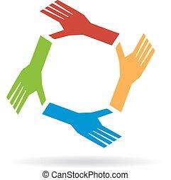 conceito, colaboração, mãos, trabalho equipe, equipe, circle.