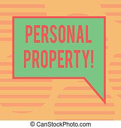 conceito, colora fotografia, mão., privado, indivíduo, direita, em branco, proprietário, borda, posses, pessoal, escrita, fala, texto, bolha, property., negócio, pertences, palavra, ativos, retangular