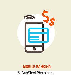 conceito, colorido, móvel, isolado, ilustração, operação bancária, luminoso, vetorial, fundo, online, pagamento
