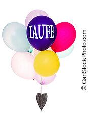 conceito, coloridos, Coração, madeira,  christening, balões