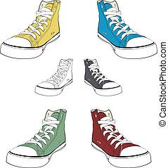 conceito, coloridos, isolado, gumshoes., vetorial, sneakers., branca