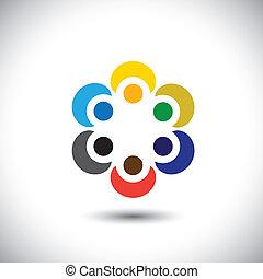 conceito, coloridos, pessoas, -, abraçando, vetorial, trabalho equipe, círculo