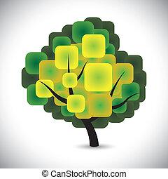 conceito, coloridos, primavera, abstratos, árvore, vetorial, verde sai