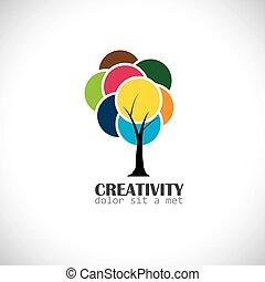 conceito, coloridos, vibrante, folhas, -, árvore, vect, original, abstratos