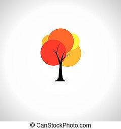 conceito, coloridos, vibrante, folhas, -, árvore, vetorial, original, abstratos, ícone