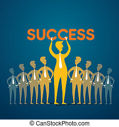 conceito, comemorar, sucesso, equipe