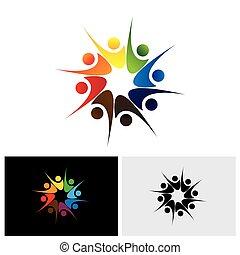 conceito, compartilhar, &, alegria, empregados, vetorial, logotipo, feliz, amigos, ou, felicidade, ícone