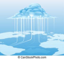 conceito, computador, nuvem, internet
