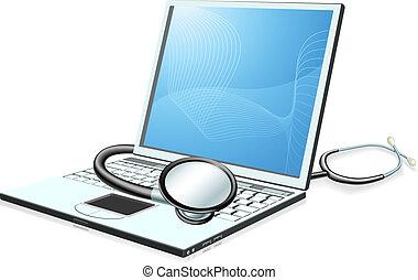 conceito, computador pc computador portátil, cheque saúde
