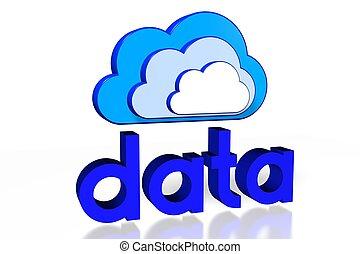 conceito, computando, /, dados, nuvem, 3d