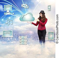 conceito, computando, mulher jovem, nuvem, feliz