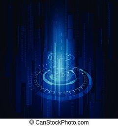 conceito, comunicação, abstratos, fundo, vetorial, fundo, tecno, círculo, tecnologia