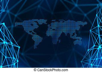 conceito, comunicação, global, negócio ilustração, símbolos, linhas, conexão, internet, 3d