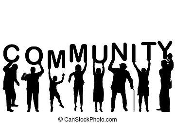 conceito, comunidade, silhuetas, pessoas