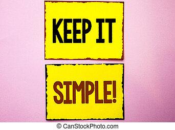 conceito, concise, simples, texto, aquilo, amarela, pegajoso, cor-de-rosa, coisas, idéias, escrita, experiência., escrito, fácil, call., negócio, motivational, simplifique, palavra, claro, mantenha, notas