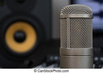 conceito, condensador, monitor, estúdio, música, profissional, lar, microphone., studio.
