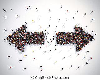 conceito, confusion., direction., pessoas, fazendo, direita...