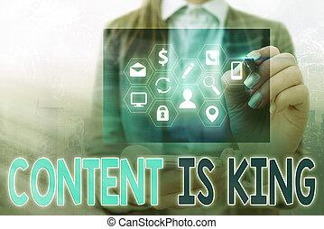 conceito, conteúdo, marketing, visibilidade, crescendo, results., texto, letra, pago, busca, king., focalizado, significado, non, escrita