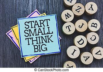 conceito, convés, texto, algum, pegajoso, algo, ter, woody, ao lado, início, coisas, nota, poucos, escrito, pretas, mente, significado, alphabets., grande, madeira, pensar, inicie, big., pequeno, letra, redondo