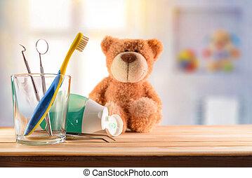 conceito, copo, vidro, odontólogo, ferramentas, crianças
