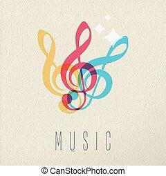 conceito, cor, nota, desenho, música, áudio, musical, ícone