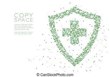 conceito, cor protetor, abstratos, sinal, projeto quadrado, padrão, forma transversal, geomã©´ricas, pixel, espaço, ilustração, proteção, fundo, cópia, branca, caixa, médico, vetorial, verde