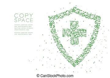 conceito, cor protetor, abstratos, sinal, projeto quadrado, polígono, espaço, padrão, forma transversal, baixo, branca, pixel, triangulo, ilustração, proteção, fundo, cópia, geomã©´ricas, caixa, médico, verde