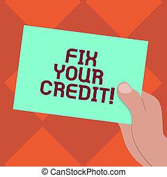 conceito, cor, texto, credit., equilíbrios, papel, em...