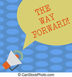 conceito, cor, texto, photo., em branco, estratégia, escrita, ir, fala, maneira, megafone, bolha, direção, negócio, volume, forward., ícone, som, palavra, sucesso, mantenha, movimento