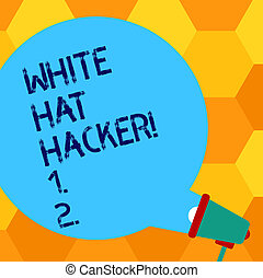 conceito, cor, texto, testar, computador, em branco, saída, perito, escrita, fala, branca, megafone, chapéu, especialista, significado, penetração, vinda, hacker., letra, announcement., bolha, segurança, redondo