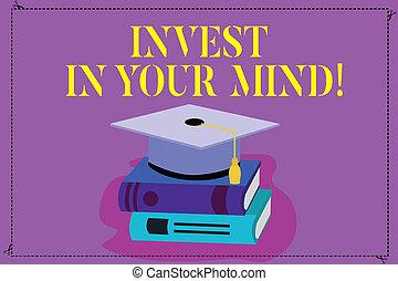 conceito, cor, texto, você mesmo, educação, seu, conhecimento, mind., foto, novo, chapéu, 3d, descansar, adquira, significado, melhorar, tassel, investir, books., boné, graduação, acadêmico, letra, mais
