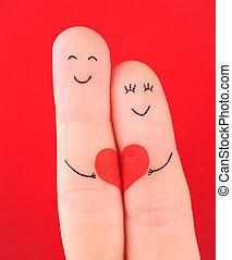 conceito, Coração, família, pintado,  -, Dedos, isolado, mulher, fundo, ter, vermelho, homem