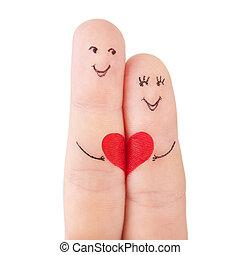 conceito, coração, família, pintado, -, dedos, isolado, mulher, fundo, branca, ter, vermelho, homem