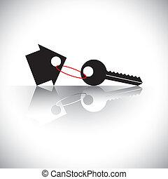 conceito, corrente, casa, lar, investimento, -, também, ativo, propriedade, negócios, negócio, tecla, comprando, representa, gráfico, real-estate, gifting, proteção, etc, vetorial, icon., propriedade