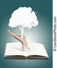 conceito, corte, árvore, papel, .save, livro
