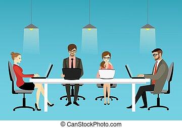 conceito, coworking, vetorial, centro, ilustração