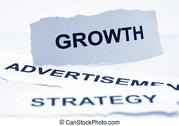conceito, crescimento, anúncio, estratégia