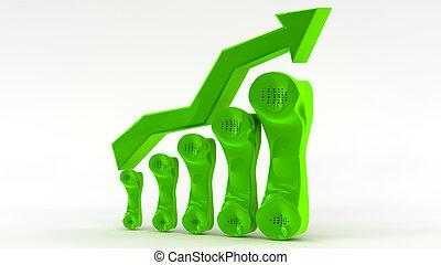 conceito, crescimento, telecomunicação, negócio