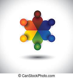 conceito, crianças, crianças, ou, vetorial, círculo, tocando