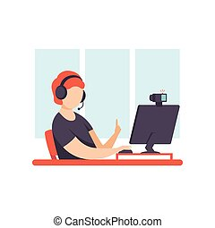 conceito, criando, blogger, social, jovem, mídia, aquilo, conteúdo, vetorial, ilustração, online, homem, canal, postando