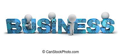 conceito, criando, pessoas negócio, -, pequeno, 3d